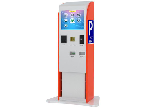 Bills / Coins / Cards Accepted Touch Screen Stands Kiosk for Parking Payment Indoor